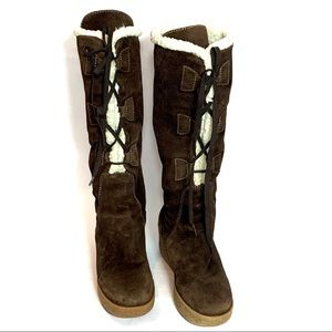 MICHAEL KORS Shearling Beaverton Lace up Boots